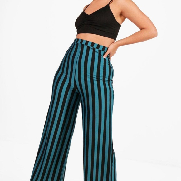da965ba99a Boohoo Plus Pants - Boohoo plus sophia stripe wide leg trouser - teal
